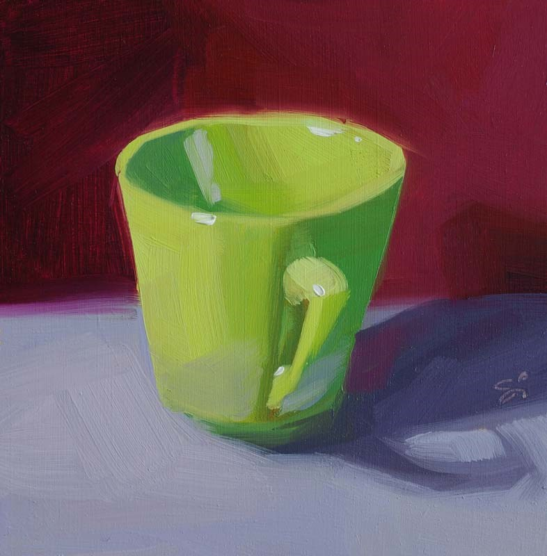 """Green cup"" original fine art by Istvan Schaller"