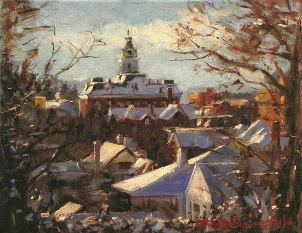 """""""Winter Townscape"""" original fine art by Jonelle Summerfield"""