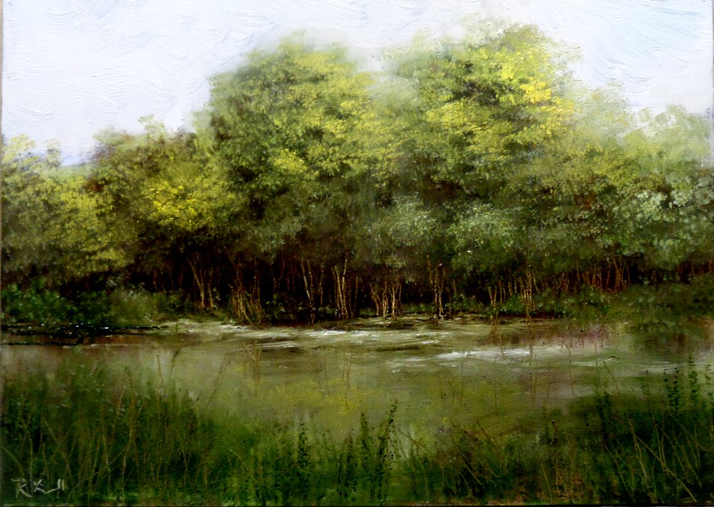 """Trees by the Lake"" original fine art by Bob Kimball"