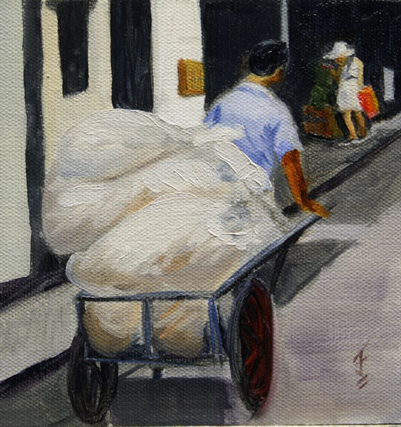 """Zhouzhuang Transport"" original fine art by Jane Frederick"