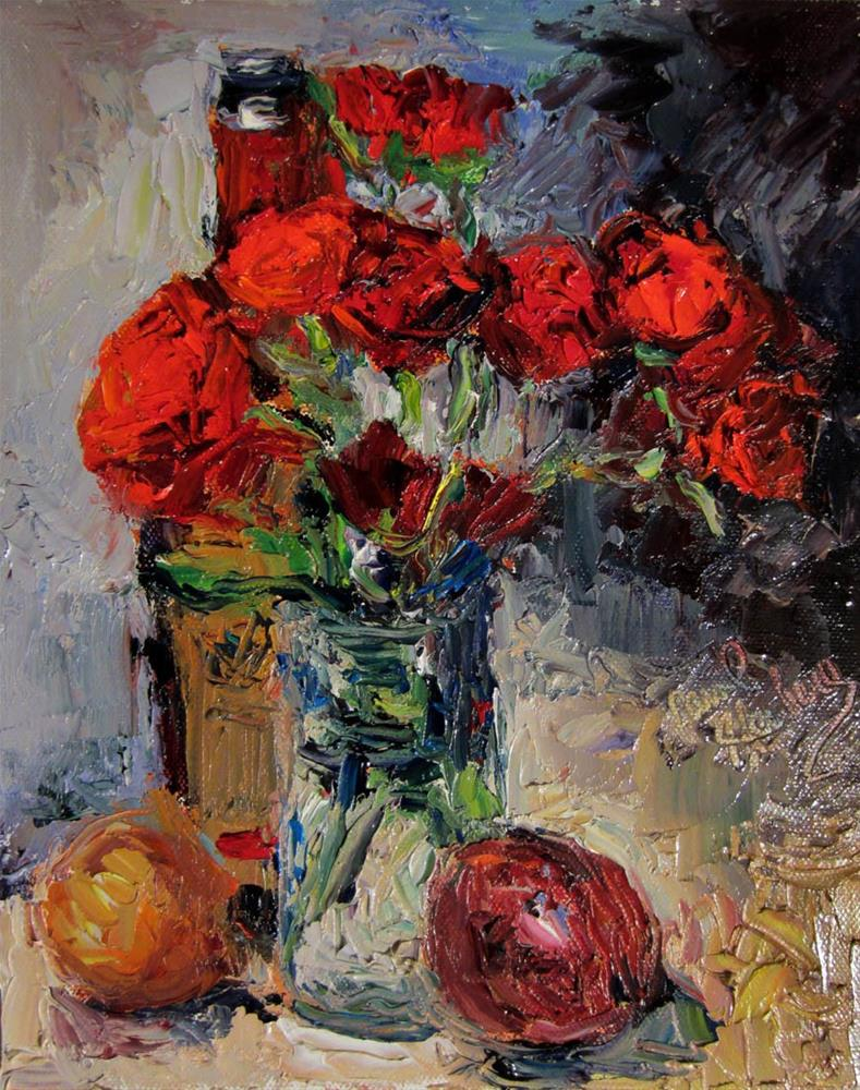 """Roses, Oil, Onions"" original fine art by Carol Steinberg"