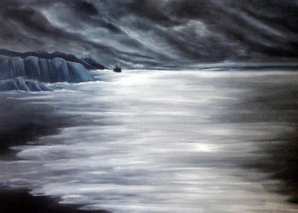 """""""Icy Moonlit Sea"""" original fine art by Sue Lorenz"""