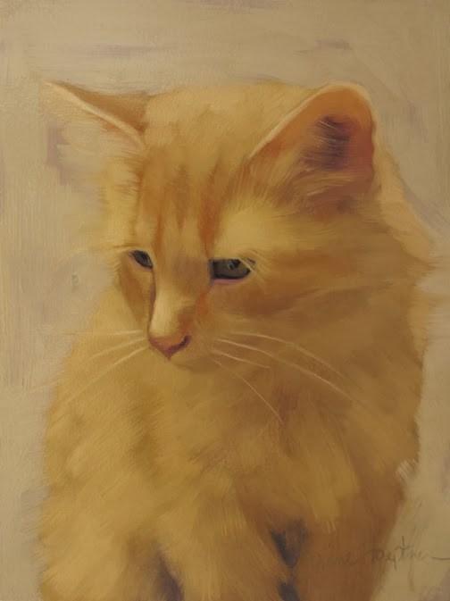 """""""Orange Cat painting by Diane Hoeptner"""" original fine art by Diane Hoeptner"""