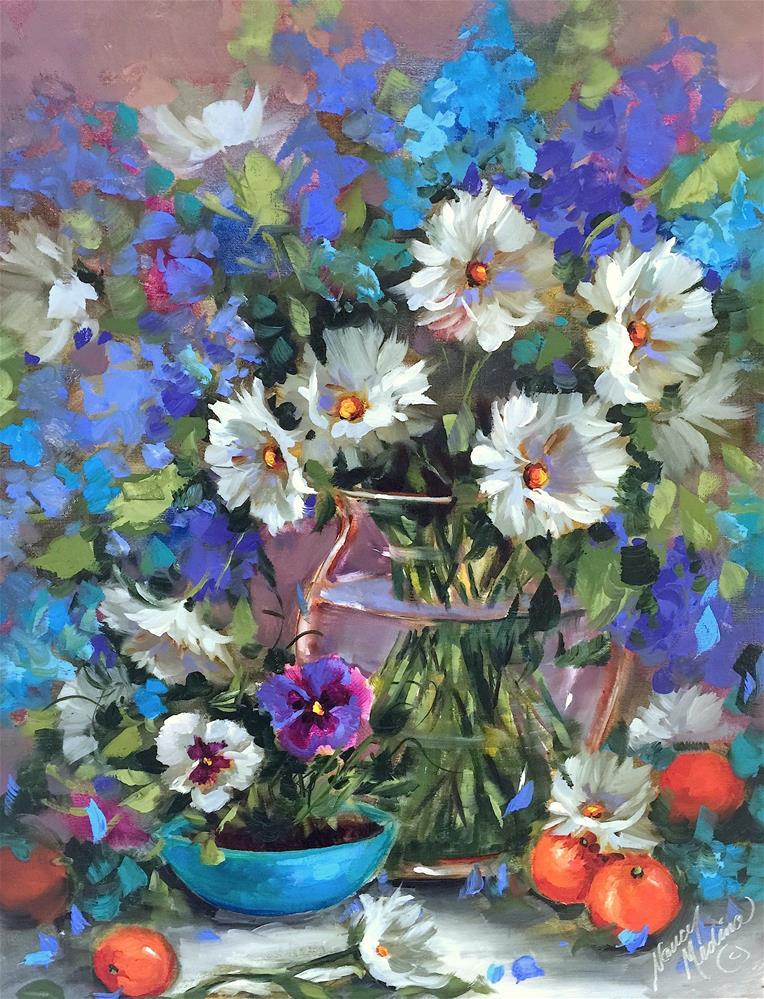 """Don't Be Blue, Be Bright! Brilliant Color Online Is Open!"" original fine art by Nancy Medina"
