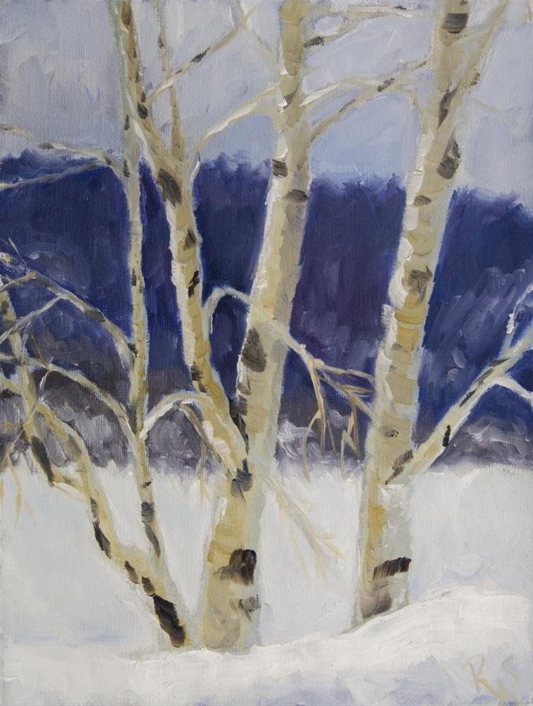 """""""Aspen in Snow"""" original fine art by Rachel Steely"""