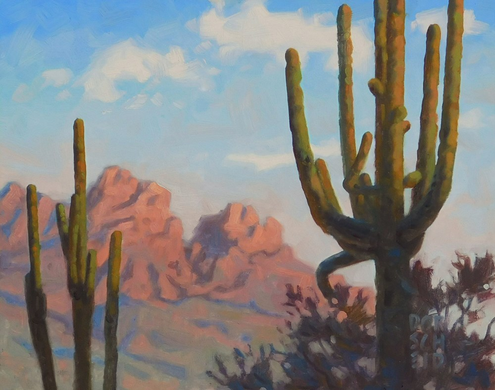 """Saguaro tops"" original fine art by Les Dorscheid"