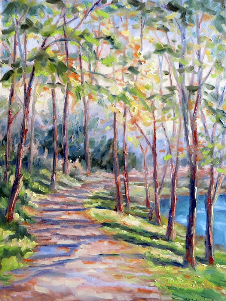 """Autumn Light on the Pathway"" original fine art by Tammie Dickerson"