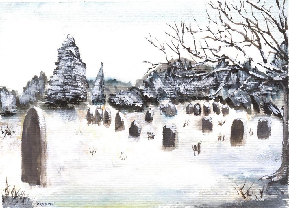 """Snowy Cemetery"" original fine art by Daniel Varney"