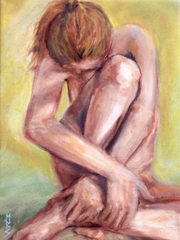 """Shy Nude"" original fine art by Mary Schiros"