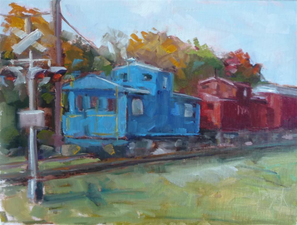 """""""Trainy Day"""" original fine art by Carol Josefiak"""