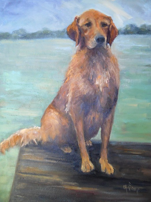 """Dog Portrait, Daily Painting, Small Oil Painting, 16x20x1.5 Animal Painting, SOLD"" original fine art by Carol Schiff"