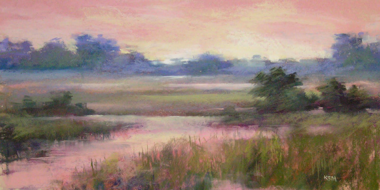 """Sunrise over the Marsh... Kiawah Island painting"" original fine art by Karen Margulis"