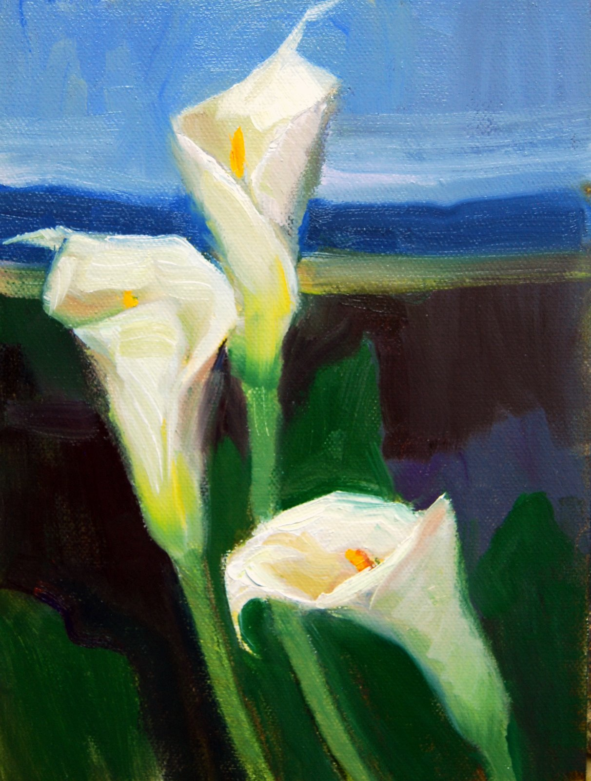 """Calla Landscape"" original fine art by Julie Ford Oliver"