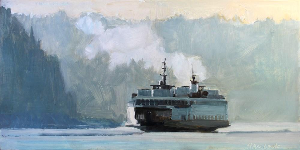 """Smokey Ferry with Pale Blue Hills"" original fine art by Gretchen Hancock"