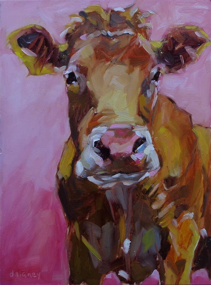 """Cow 120 CHERRY BLOSSOM"" original fine art by Jean Delaney"