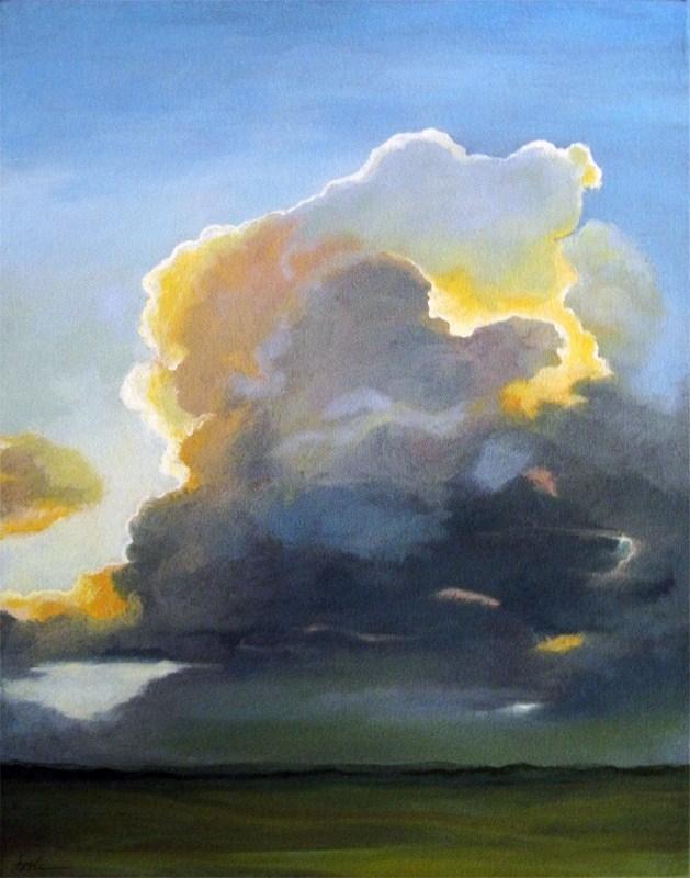 """Evening Clouds - landscape sky oil painting"" original fine art by Linda Apple"