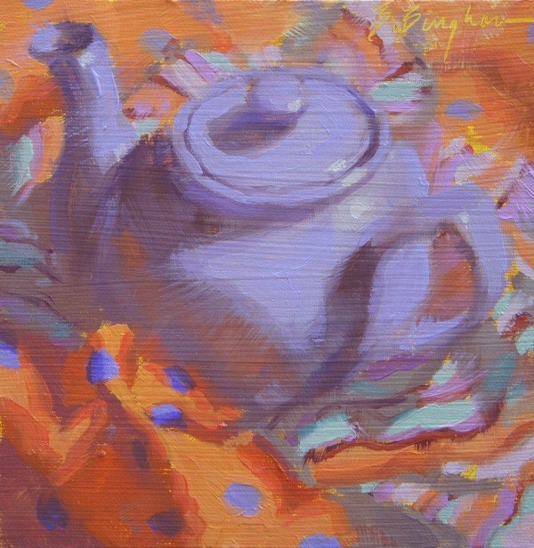 """Purple Polkadot Pot"" original fine art by Bruce Bingham"