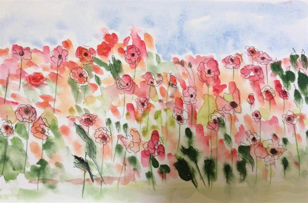 """Poppies  watercolor / ink  6 x 9"" original fine art by Nancy Beard"