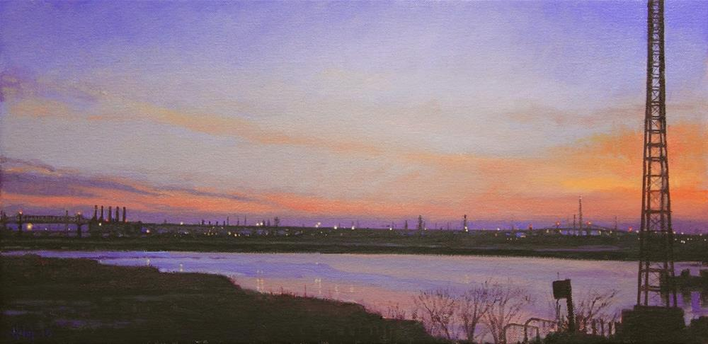 """Newark at Dusk"" original fine art by Ski Holm"
