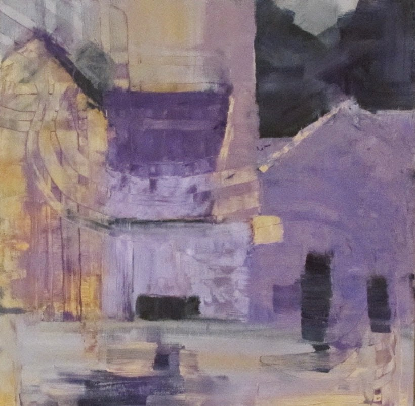"""Purple and orange abstraction"" original fine art by Helen Moreda"