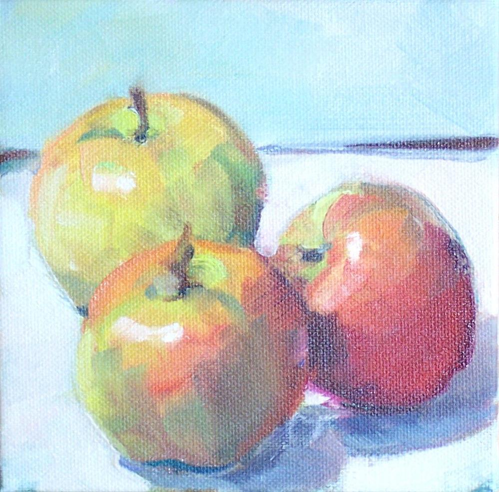 """3 Apples,still life,oil on canvas,6x6,$200"" original fine art by Joy Olney"