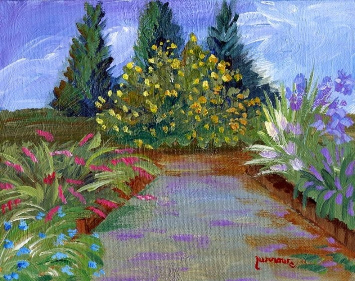 """ORIGINAL PAINTING OF SISTERS PATIO GARDEN"" original fine art by Sue Furrow"
