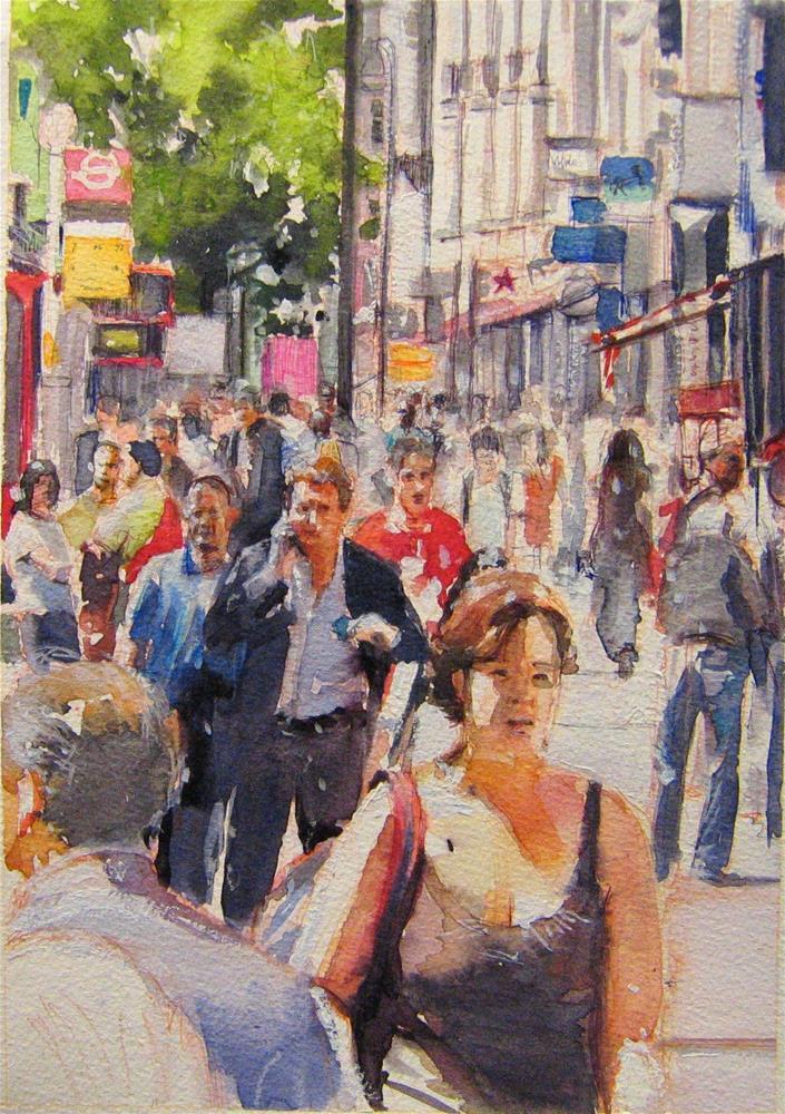 """Rush hour Tottenham Court Rd"" original fine art by Adebanji Alade"