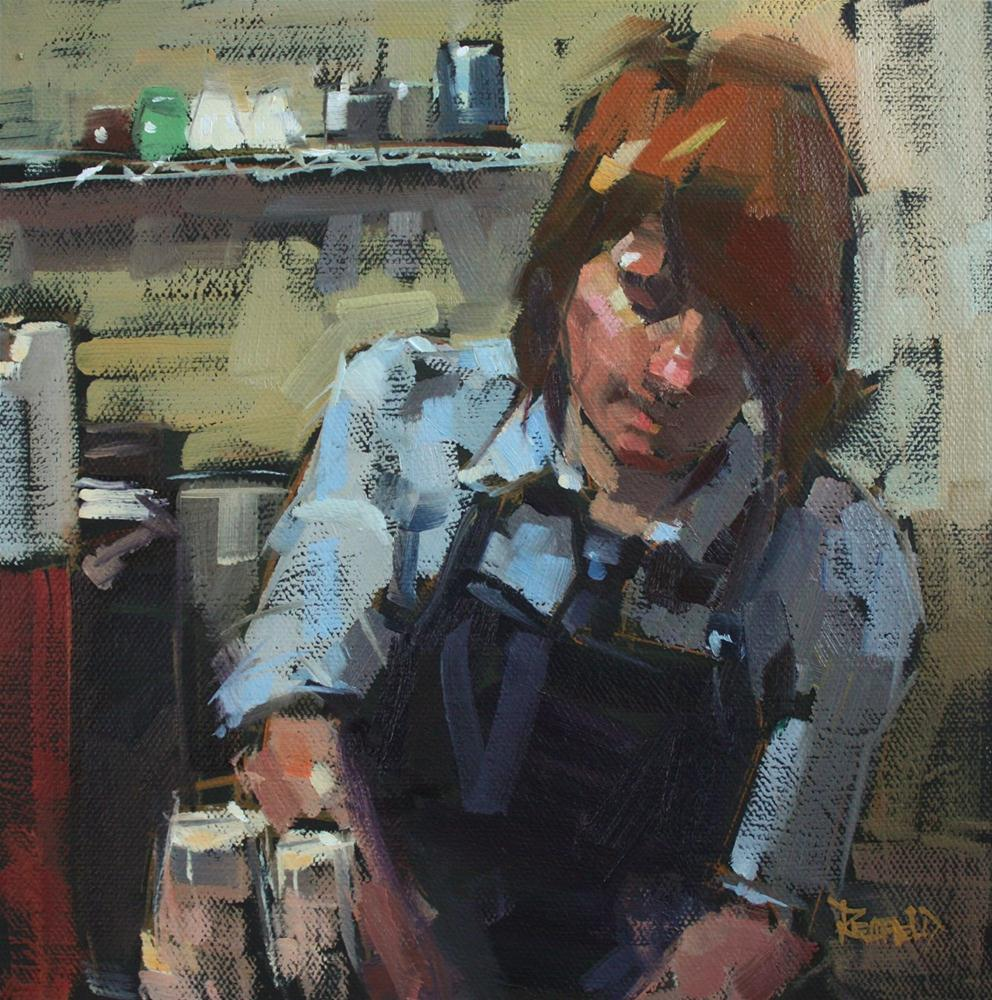 """Barrista"" original fine art by Cathleen Rehfeld"