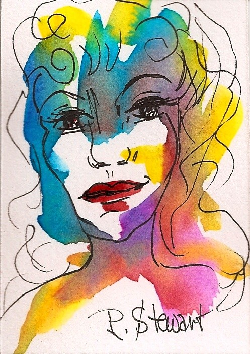 """ACEO, Good Bones, abstract Portrait of a Woman's face, watercolor and pen, original"" original fine art by Penny Lee StewArt"