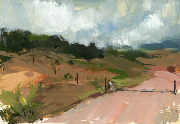 """Dirt Road with Cattle Guard"" original fine art by David Lloyd"