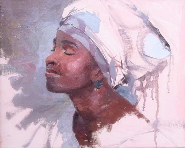"""the african headgear 3"" original fine art by Adebanji Alade"
