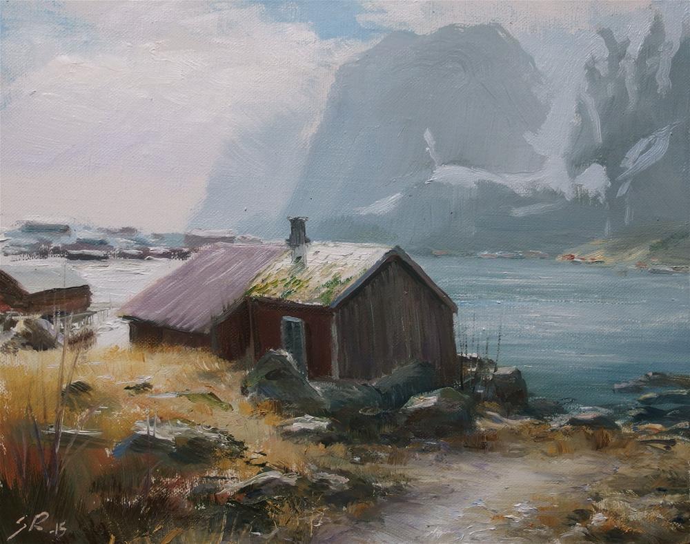 """""""Afternoon in Reine"""" original fine art by Stig Rosenlund"""