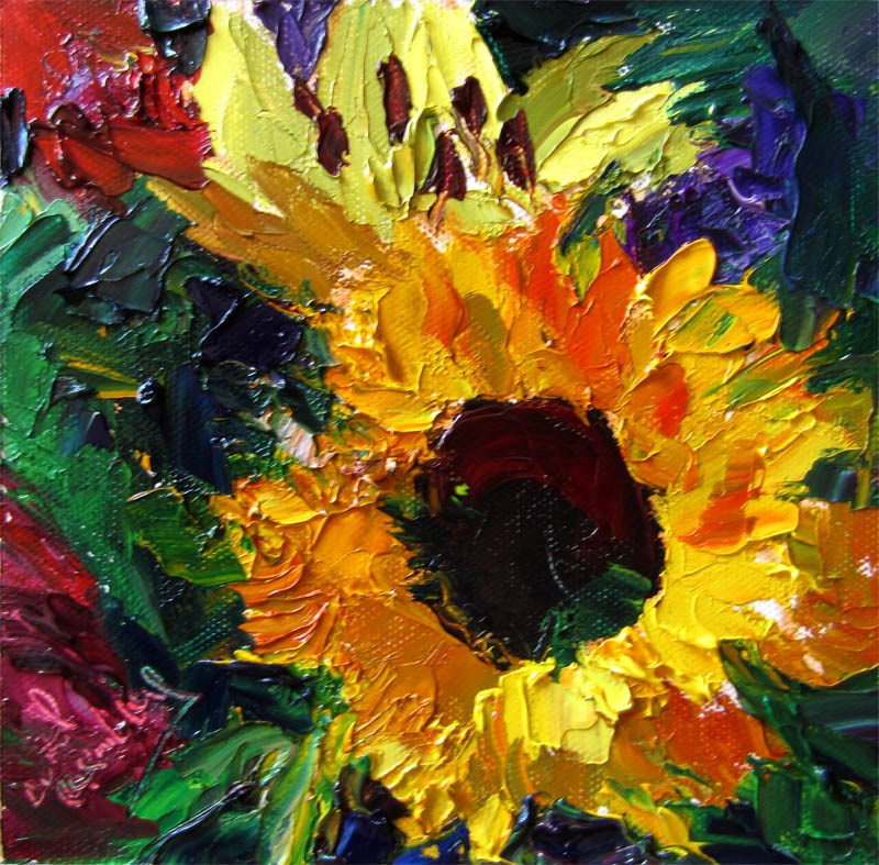 """Sunflower, Lily"" original fine art by Carol Steinberg"