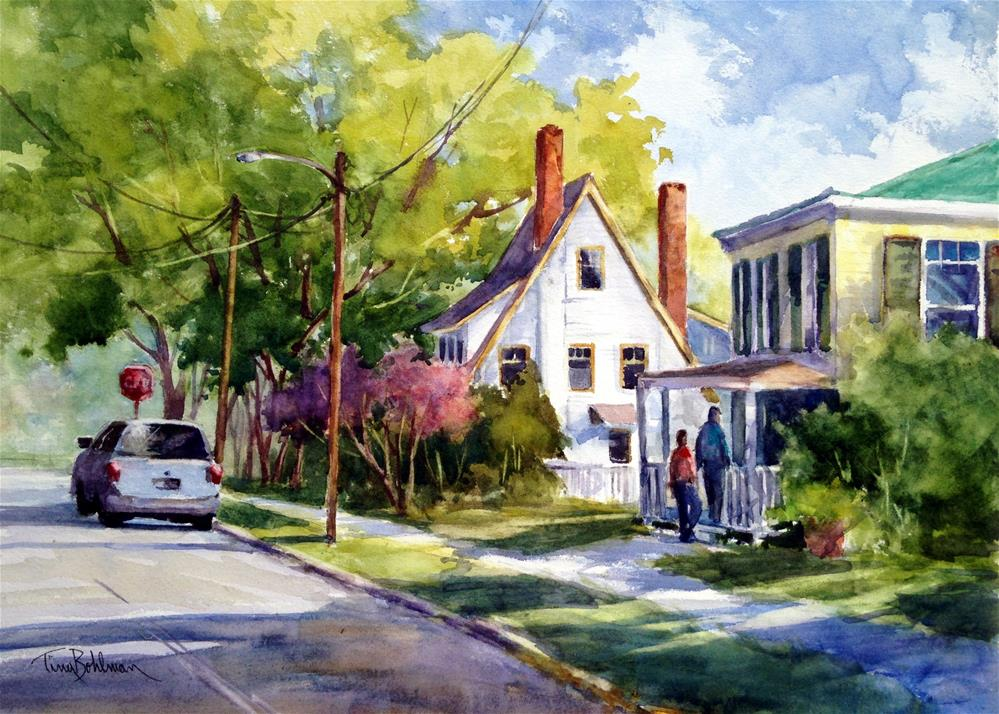 """THE VISITORS- SOUTH LANE IN EASTON"" original fine art by Tina Bohlman"
