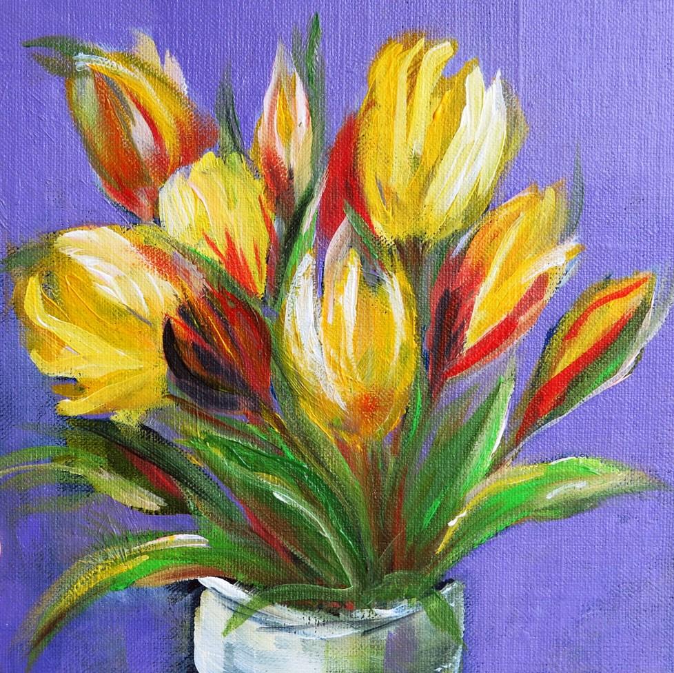 """Vase of Yellow Parrot Tulips"" original fine art by Susan  Mackenzie"
