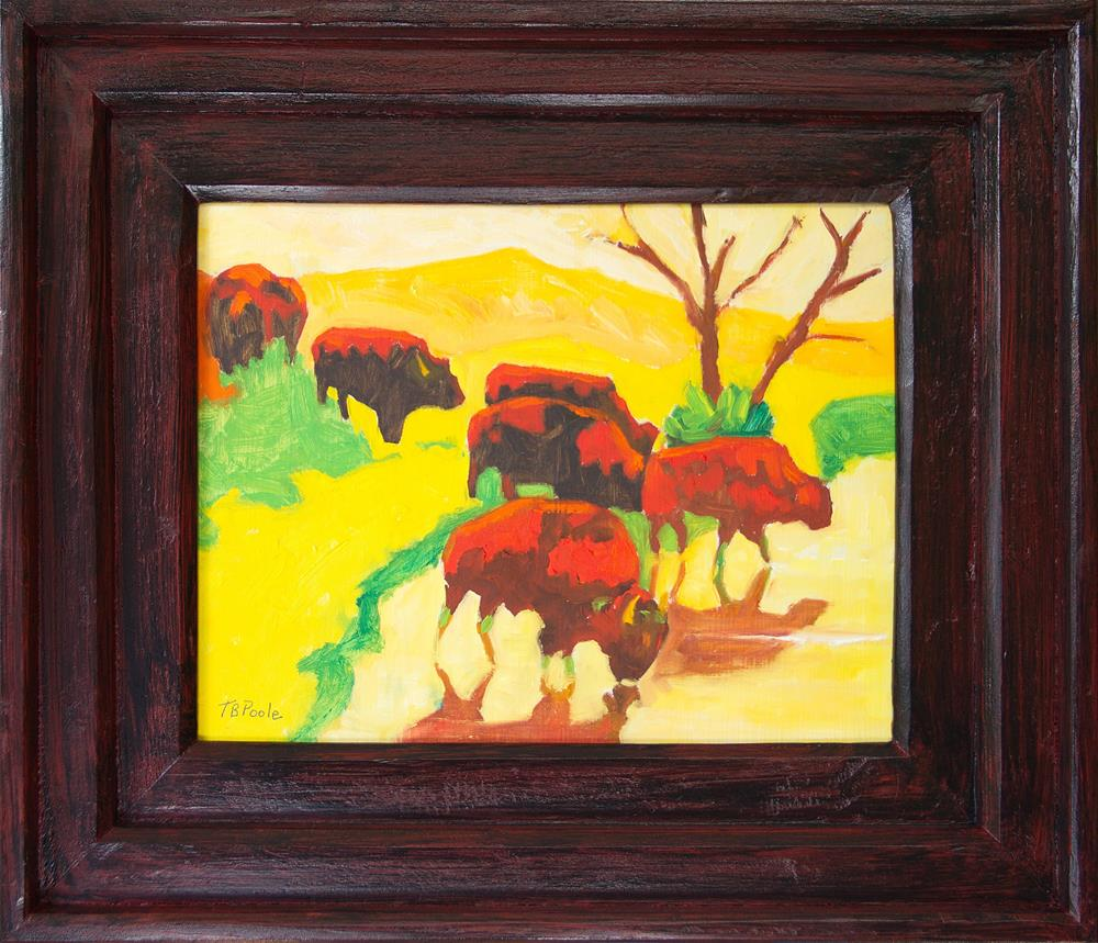"""Bison Art Bison Crossing Stream Yellow Hill (Painting and Frame) Bertram Poole"" original fine art by Bertram Poole"