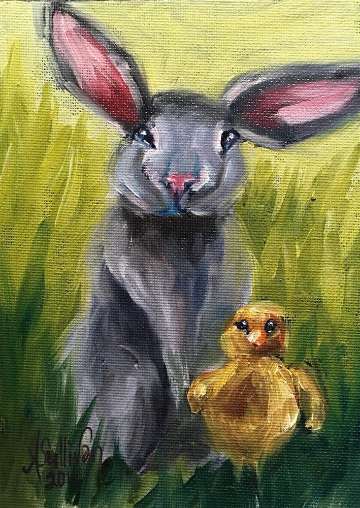 """Just Me and My Friend bunny painting by Alabama Artist Angela Sullivan"" original fine art by Angela Sullivan"
