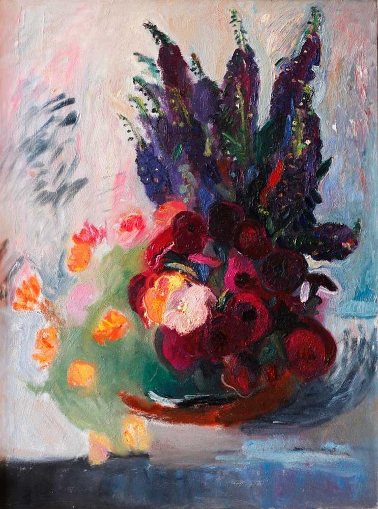 """Bouquet of Red Blue and Orange Flowers"" original fine art by Anna  Fine Art"