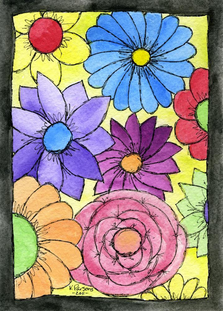 """Framed Flowers"" original fine art by Kali Parsons"