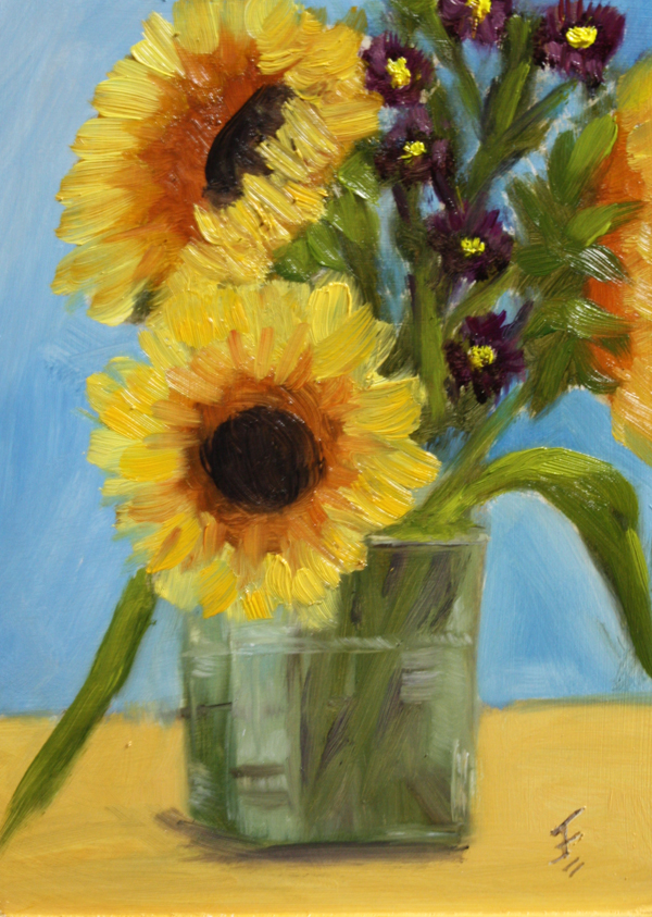 """Sunflower Bouquet"" original fine art by Jane Frederick"