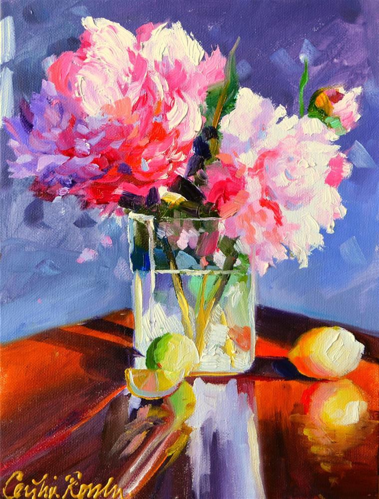 """TWO PEONIES"" original fine art by Cecilia Rosslee"