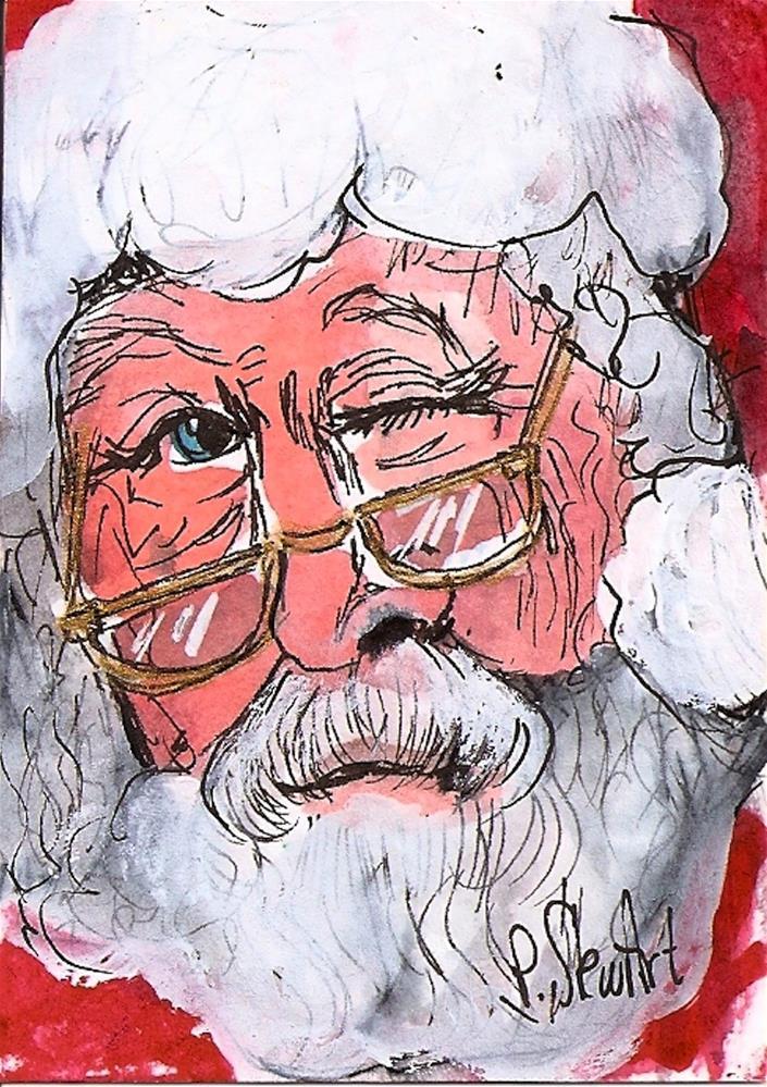 """""""ACEO Winking Santa #4 Series WC/Pen Original Illustration SFA by Penny StewArt"""" original fine art by Penny Lee StewArt"""