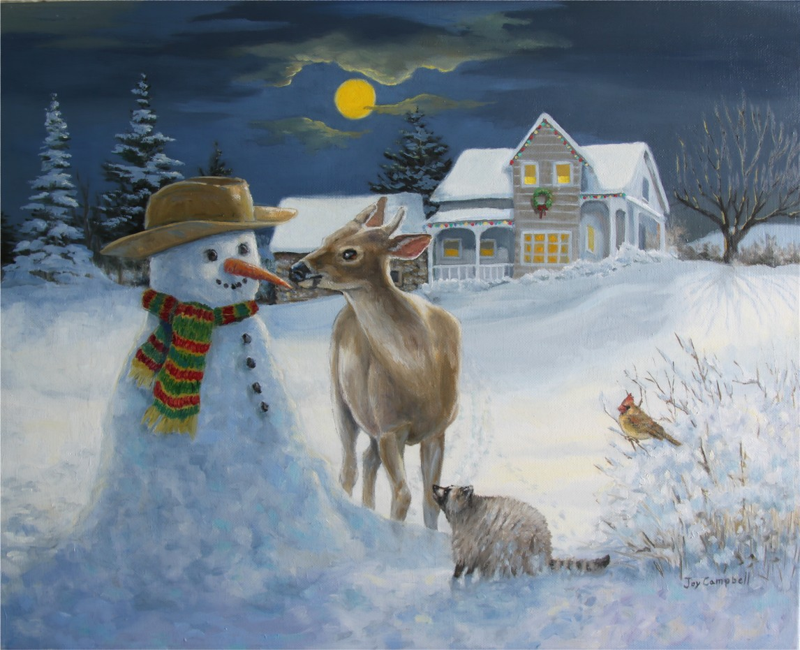 """Snowy Night"" original fine art by Joy Campbell"