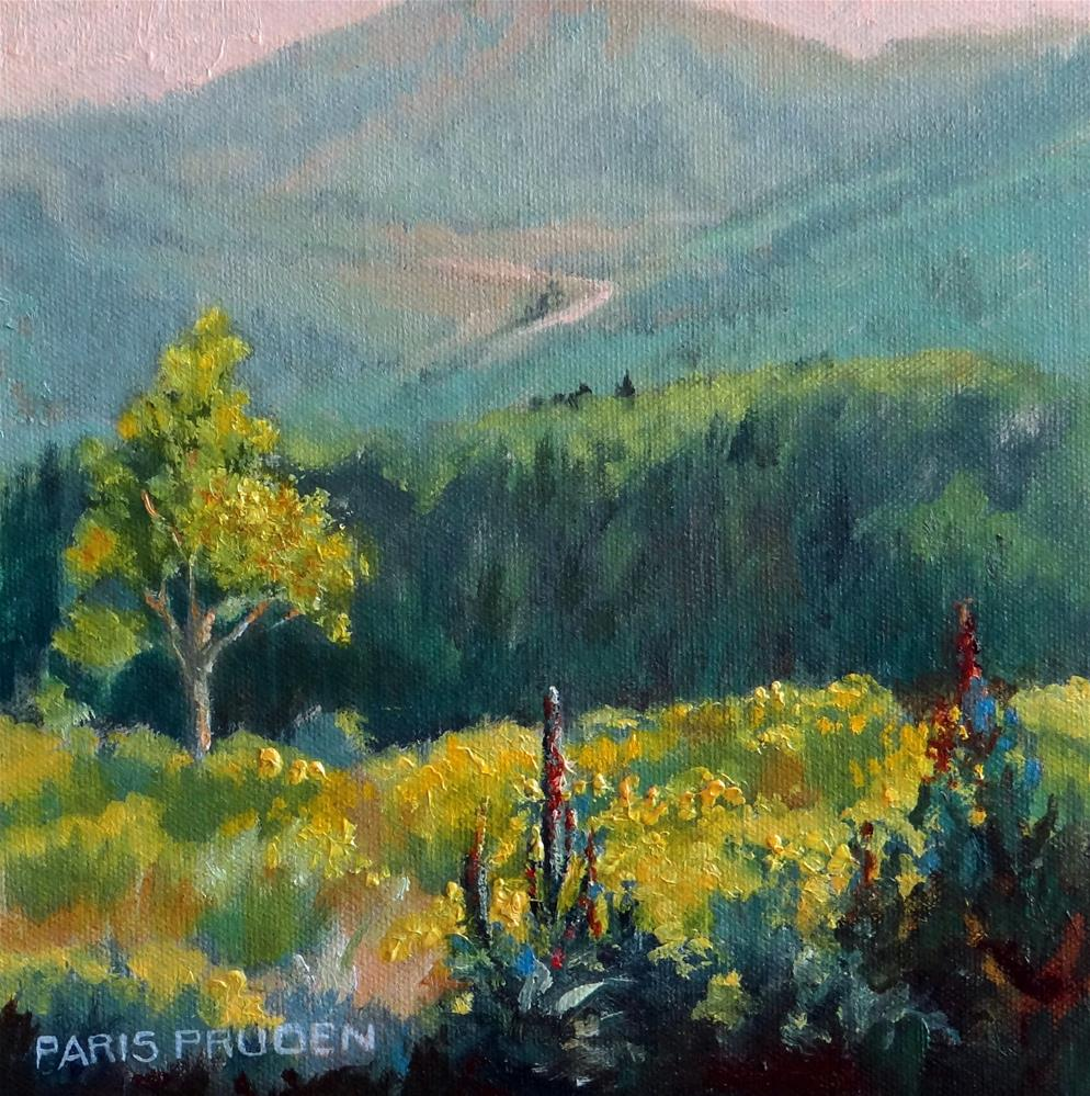 """Yellow Rabbit Bush"" original fine art by Nancy Paris Pruden"