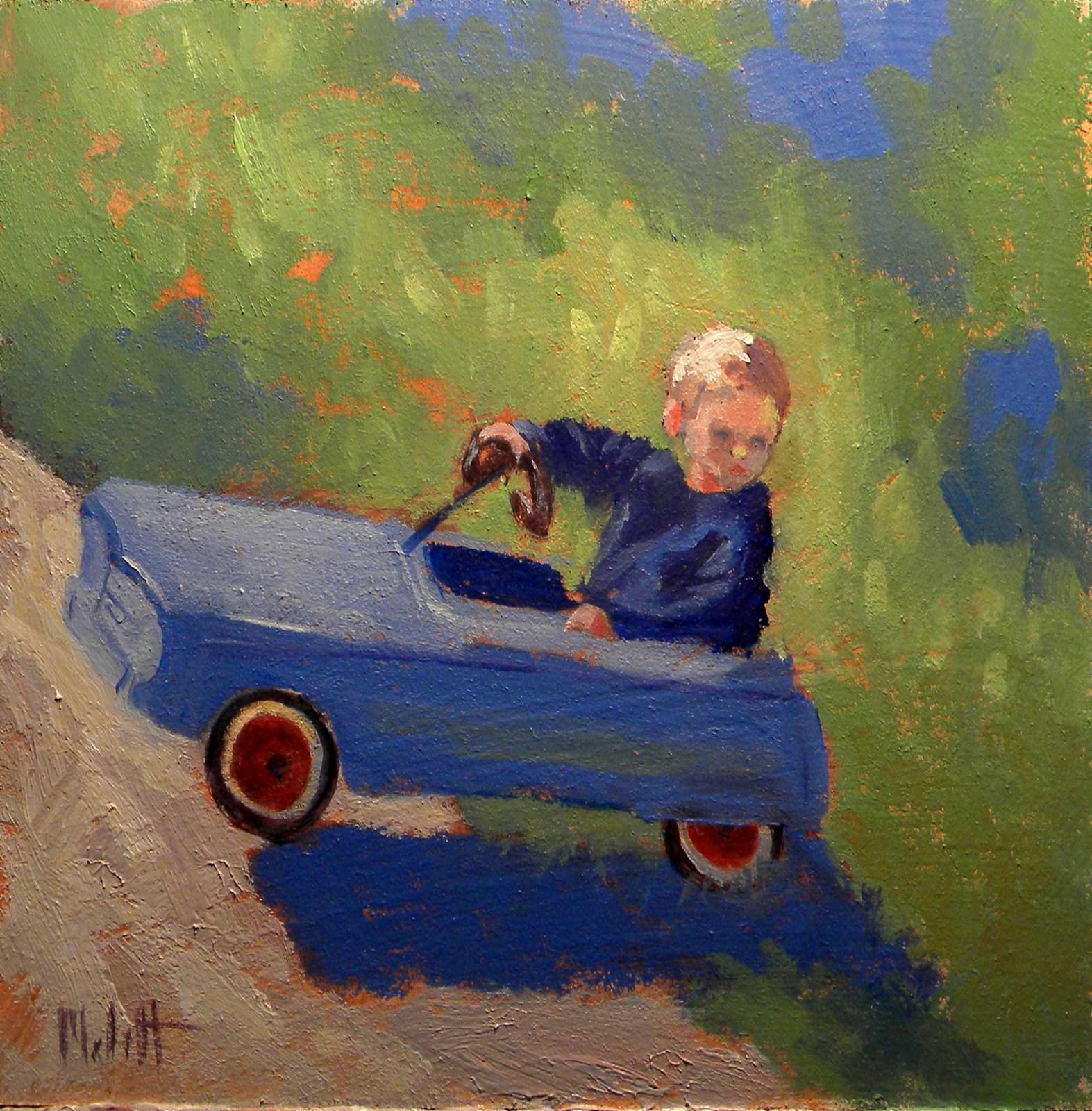 Antique Toy Car Child Contemporary Impressionist Painting original fine art by Heidi Malott