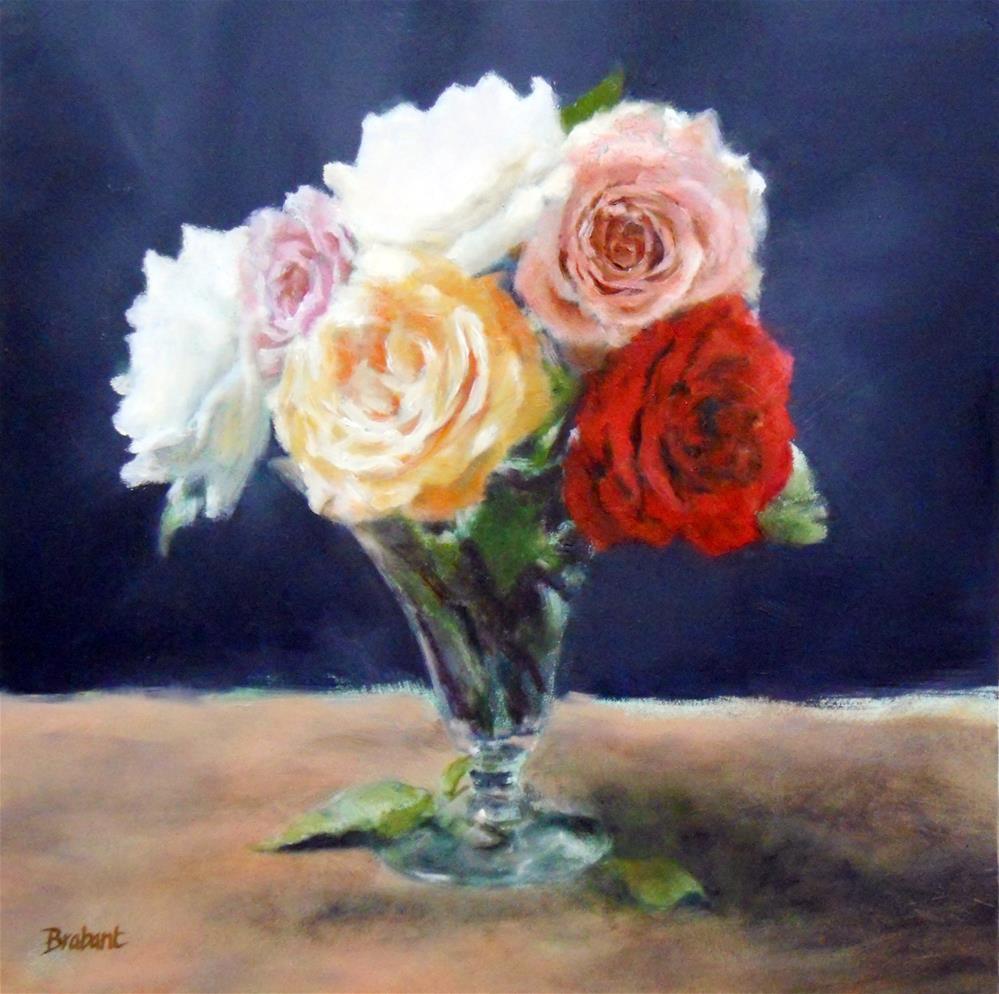 """Roses in a Trumpet Vase"" original fine art by Jill Brabant"
