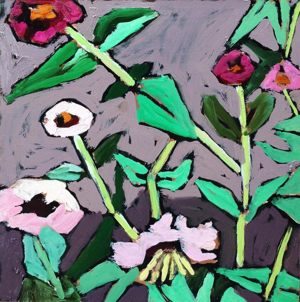"""""""Liz's Zinnia Patch"""" original fine art by Pamela Hoffmeister"""
