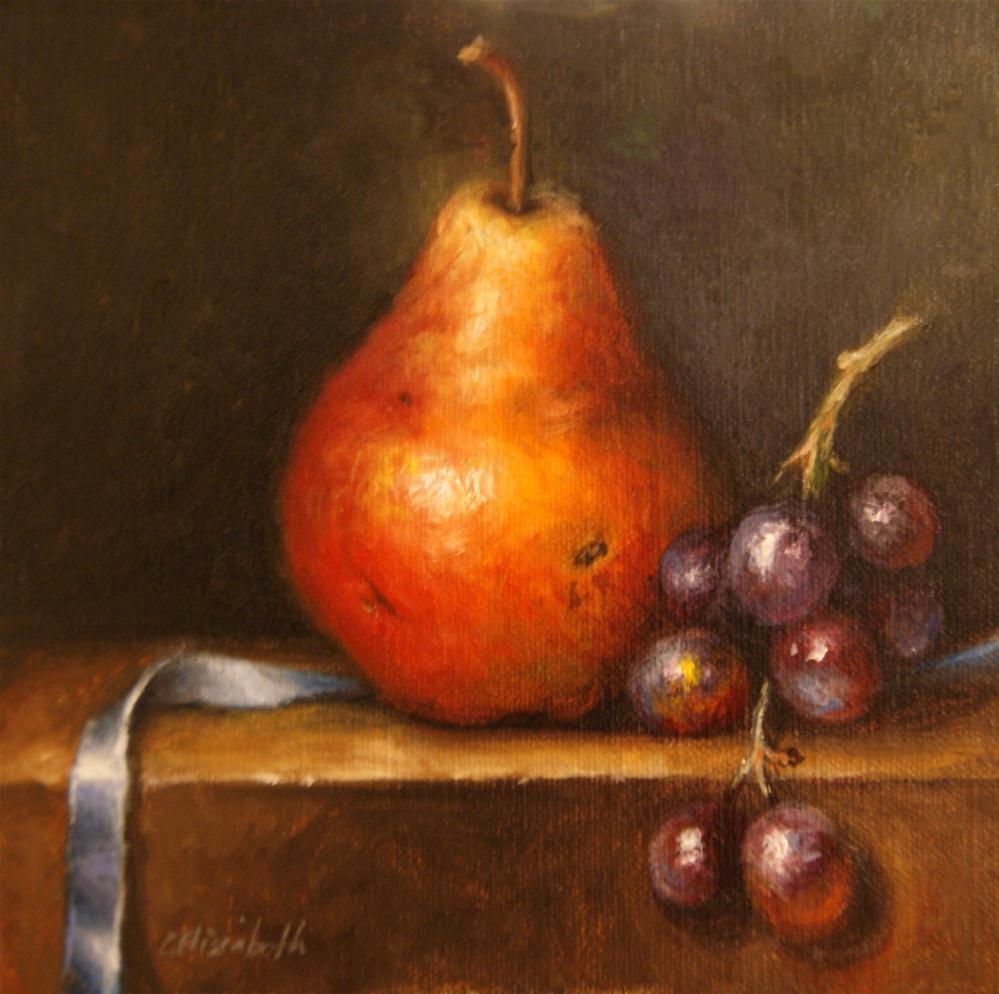 """Pear, Grapes and Ribbon Still Life"" original fine art by Carolina Elizabeth"