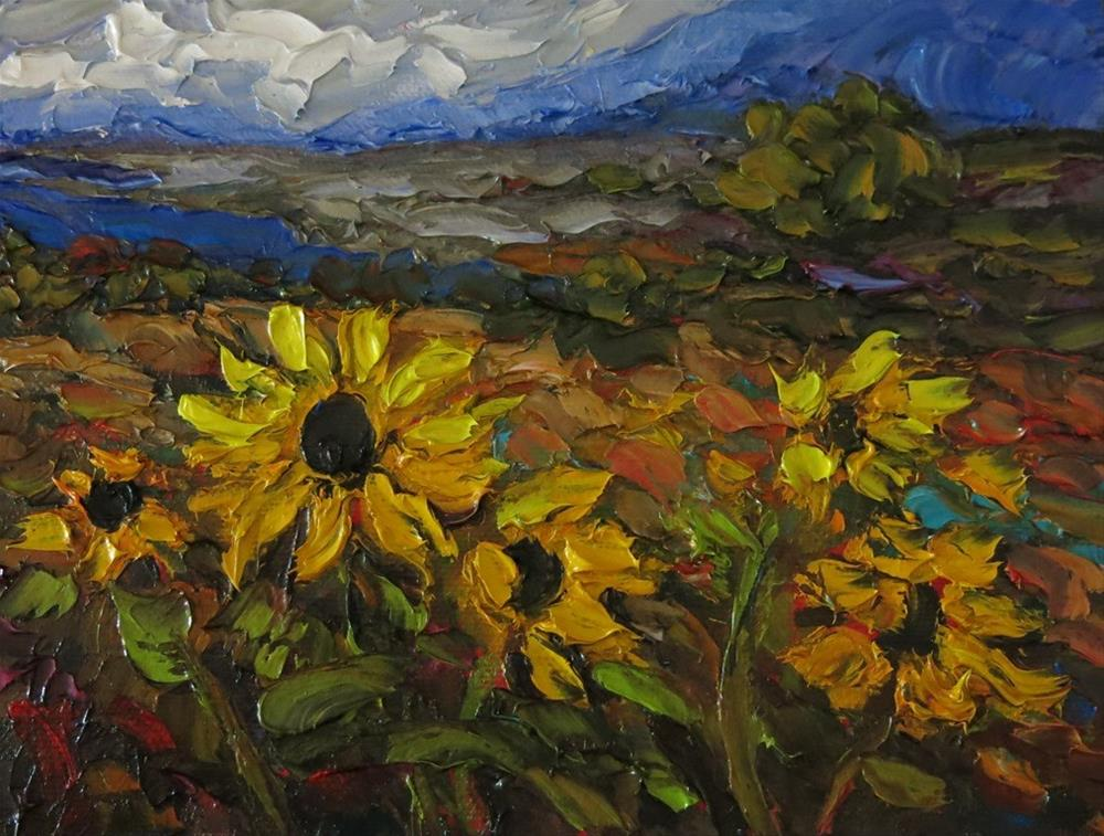 """GORGE AND SUNFLOWERS palette knife painting"" original fine art by Dee Sanchez"