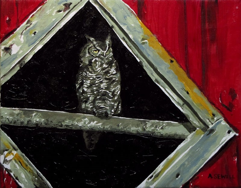 """Owl in the Barn"" original fine art by Andy Sewell"